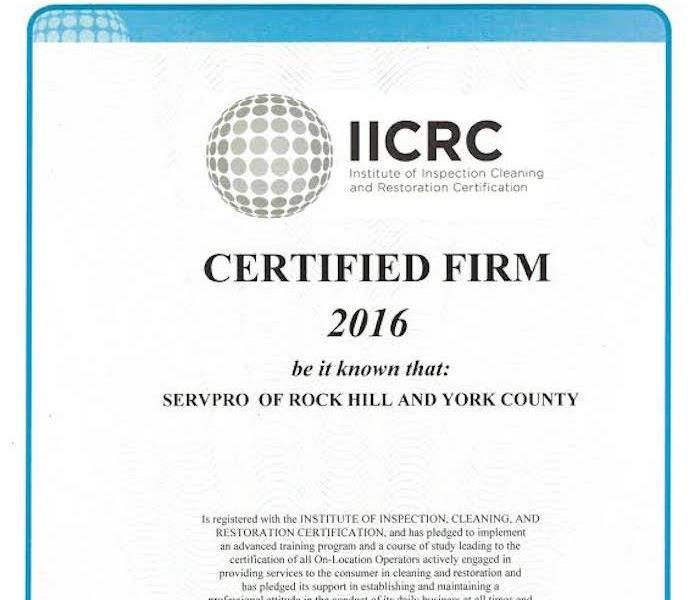 IICRC Certified Firm In York County