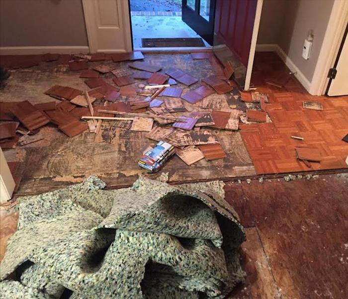 Hardwood Floor Damage In Fort Mill From Water Leak